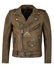 Homme veste Perfecto Brando Vintage Biker Racer Classic Cuir d'agneau Veste sr-mpmp