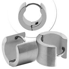Pendientes De Aro Acero Grasas Plata Ancho Hoop Huggie Unisex Clip Ø 13mm 16mm