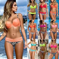 Damen Bandage Push-up gepolstert Bikini Sets Bandeau  Badeanzug Bademode
