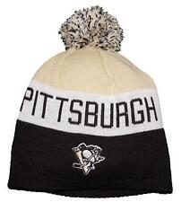 NWT Reebok Pittsburgh Penguins NHL Youth Boys 8-20 Uncuffed Pom Knit Hat
