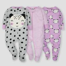 eaae3400847a8 Gerber Baby Girl's 3 Pack Sleep N Plays Size 0-3 Months NEW Cat,