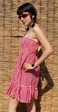 Pepita Sommerkleid Kleid Karomuster Karo rot weiß Bandeau - Größe wählbar