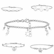 Amberta Real 925 Sterling Silver Adjustable Ankle Leg Bracelet Women Chain Italy