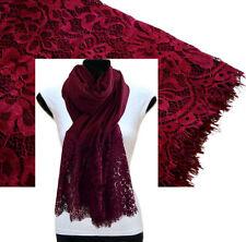 Large Burgundy Scarf Lace Shawl Floral Wrap Cotton Scarf Plain Pashmina Hijab