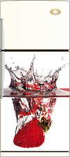 Sticker frigo Fraise déco cuisine splatch 60x90cm Réf 036