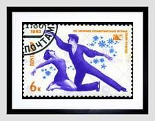 Estampilla Urss Vintage Pares Patinaje artístico Montaje de Impresión Arte Enmarcado B12X8879
