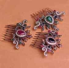 Antique Baroque Gem Gold Hair Comb Queen Royal Arabian Retro Indian Turkish