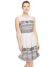 New M&S Collection White Pure Cotton Cross Stitch  Dress Sz UK 14 Short