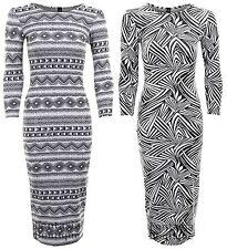 New Ladies Long Sleeve Jacquard Aztec Leaf Print Women's Midi Dress 8-14