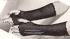 Vintage Crochet PATTERN to make Fingerless Mesh Net Gloves Mitts Gothic BlkMitts