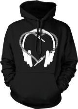 Headphones Heart Plug - I Love Music Logo Sayings Hoodie Pullover