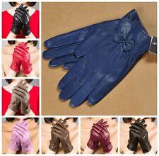 Warm Fashion Gloves Women's Winter Genuine Lambskin Leather Driving Soft Lining