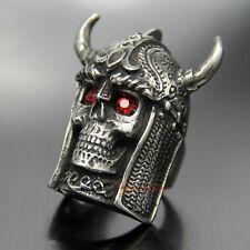 Big Vintage Tribal Warrior Skull Men Biker Ring Bull Horn Helmet Stainless Steel