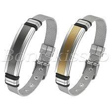 Men's Women's Couples Mesh Chain Stainless Steel Adjustable Wristband Bracelet