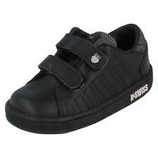 Boys K Swiss Black/LTGrey Leather riptape STRAP School Trainer LOZAN II STRAP DX