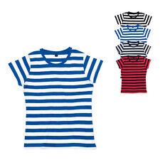 Mantis Damen T-Shirt Gestreift Kurzarm Rundhals Bedruckbar S M L XL Neu M110S
