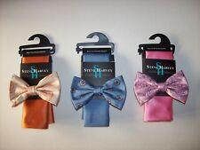Steve Harvey Bow Tie Pocket Square 2pc Set Mens Pretied  Orange Blue Pink New