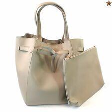 Large Shoulder Hand Bag Tote & Small Clutch Clip Top Inner Pocket 640-214