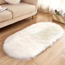 Faux Fur Sheepskin Rug Balcony Oval circle Rectangle Floor Carpet Bedroom Mat b