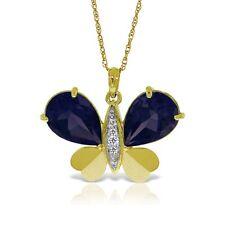Genuine Sapphire Gemstones & Diamonds Butterfly Pendant Necklace 14K. Solid Gold
