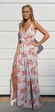 Ivory & Pink Floral Split Leg Romper Jumpsuit Maxi S M L Cotton Candy LA CR7770