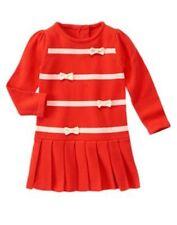 NWT Gymboree Mod about orange Ribbon Pleated Sweater Dress 12 18M 2t Toddler