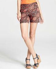 Ann Taylor Tropical Paisley Print Metro Shorts Size 14 NWT Desert Sky Color