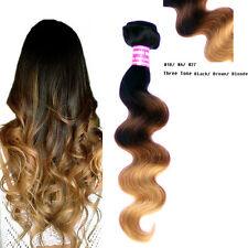 100g/bundle Brazilian Virgin Hair Ombre 3 Tone Body Wave Human Hair Weft 1B#4#27