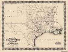 Civil War Map Print - Texas, Louisiana, & Arkansas Campaign - 1871 - 23 x 30.44
