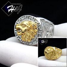 MEN Stainless Steel Silver/Gold Lion Head Eagle Greek Key Design Round Ring*R83