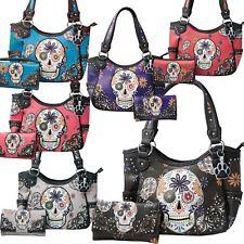 Sugar Skull Handbag Western Carry Concealed Shoulder Bag Purse Wallet Set Women