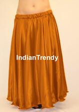 Golden Satin Full Circle Skirt Belly Dance Costume Gypsy Tribal 9 Yard Flamenco