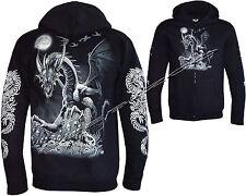 New Mens Dragon Skull Motorbike Motorcycle Glow in The Dark Hoodie Hoody Jacket