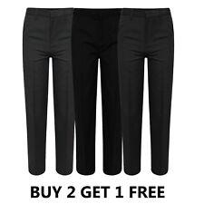 Boys Slim School Trousers Black Grey Navy Uniform Regular Long Plus Generous Fit