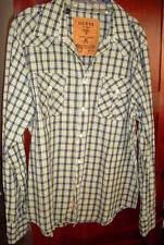Guess Plaid Long Sleeved Button Shirt Blue/Greenish Yellow/White NWT  Medium