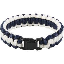 COBRA Weave Paracord Bracelet 7 Strand Survival Camping Hiking Blue & White