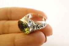 Oval Green Amethyst Prasiolite Balinese Sterling Silver Ring Size 6, 7, 8, 9