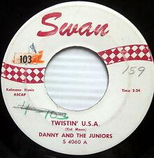 DANNY& THE JUNIORS 45 A Thousand Miles Away / Twistin U.S.A  SWAN doowop c2690