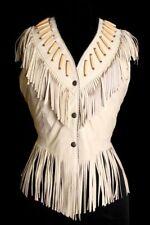 Femmes blanc en cuir Western porter veste frangée & perles vestes à la main