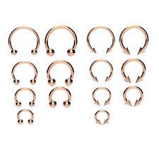 316l Rose Oro Herradura Bar-Labio, Nariz, Septum oído anillo Varios Tamaños Disponibles