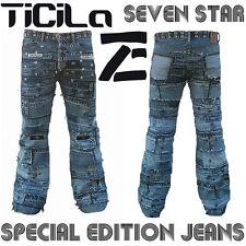 Ticila SEVEN STAR GIGOLO Rocker Biker Rockstar Vintage Nieten Edition JEANS WoW