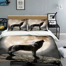 Juegos de cama 3D Luna de lobo Funda nórdica Funda nórdica Funda de almohada