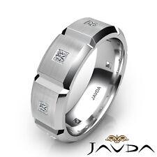 0.5 Ct. Princess Bezel Diamond Ring White Gold 7.4mm Men's Eternity Wedding Band