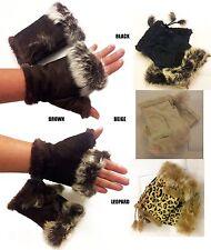 Women's Rabbit Faux Suede Wrist Fingerless Winter Warm  Mitten Gloves