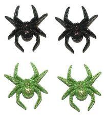SPOOKY BLACK or GREEN GLITTER SPIDER HALLOWEEN STUD EARRINGS