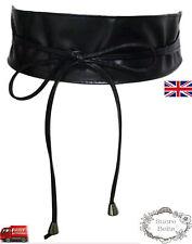 Damas Mujeres Moda Negro Corbata Cuerda 7 Cm de Ancho de Cuero PU Corsé De Cintura Cinturón Rápido