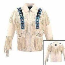 Occidentale Scamosciato Pelle Cappotto Cowboy Fringe Perline Ossatura Giacca