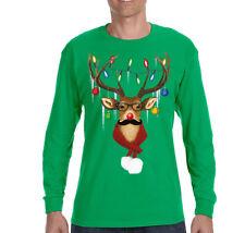 Mens Reindeer Mustache Sweater Ugly Christmas Winter Santa Long Sleeve T-Shirt
