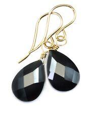 14k Gold Cubic Zirconia Earrings Black CZ Sterling Pear Faceted Dangle Drops