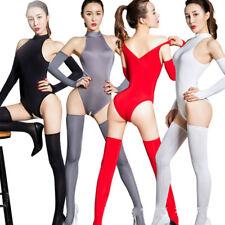 Shiny Zipper Bodysuit Open Crotch Leotard Jumpsuit Stockings Gloves Clubwear Set